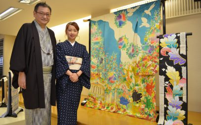 Kurume kimono maker to finish 213 global kimono by spring, making one for each country or region as an Olympic project