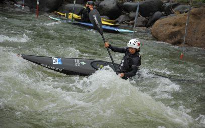 Athletes from the Japanese national canoe slalom team train in Oshu City
