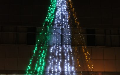 Host Town Project: An illumination motif of the Irish flag in Iwate Town